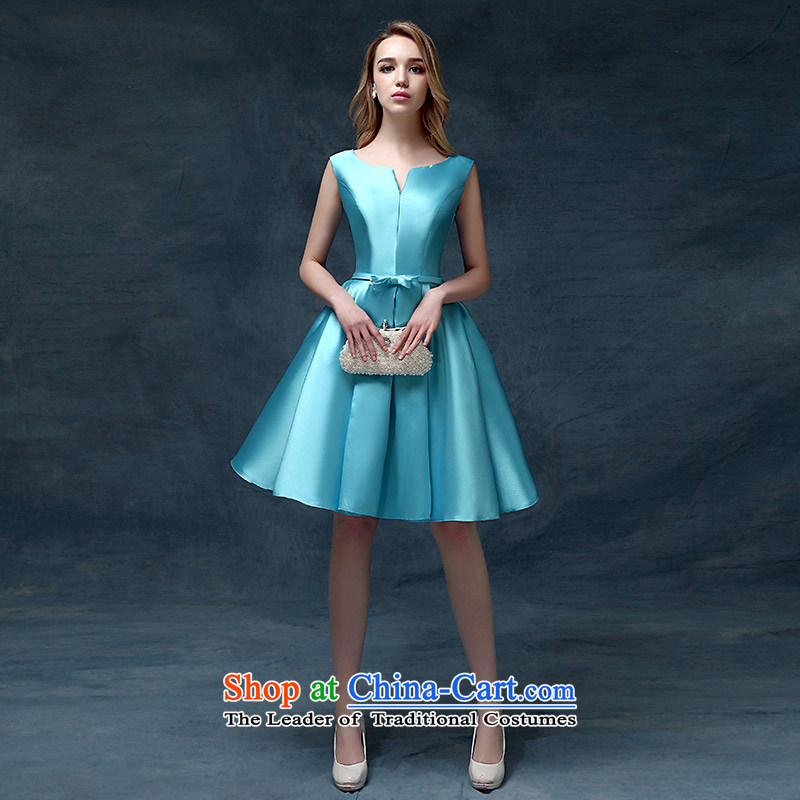 According to Lin Sha evening dresses 2015 new Korean short spring and summer, bows marriages stylish moderator dress dresses blue�S
