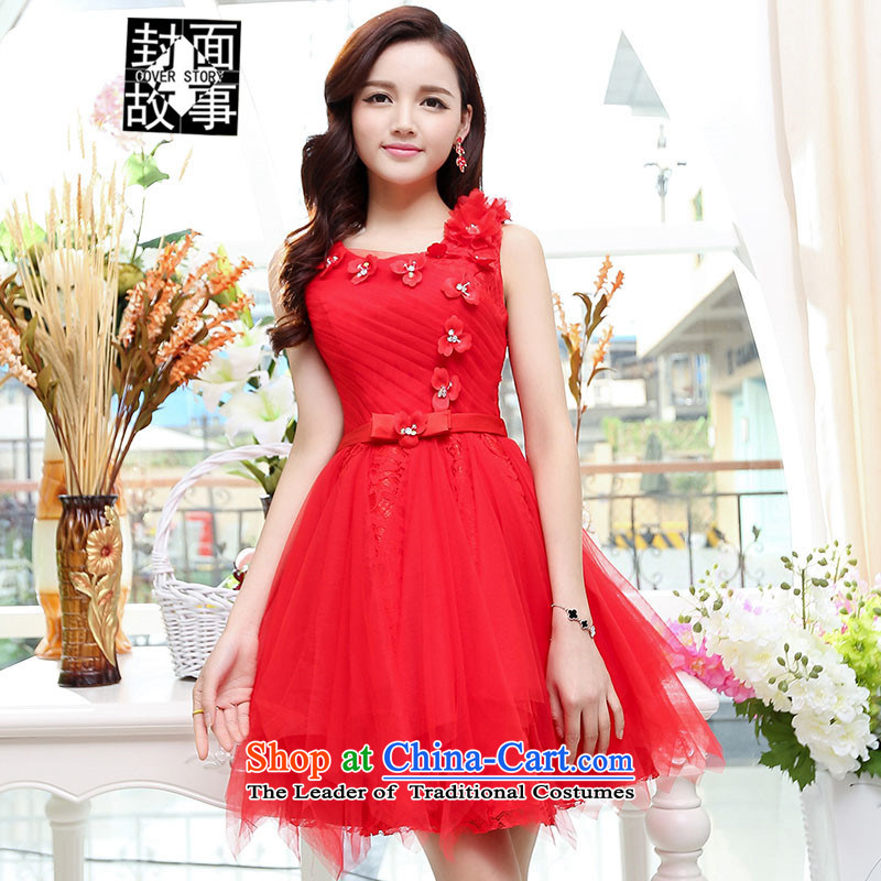 2015 Summer cover story elegant ladies chiffon embroidery sleeveless dresses dress large skirt sister replacing bridesmaid Service Bridal Red聽L
