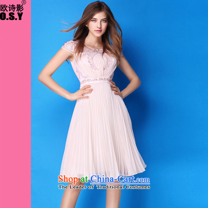 The OSCE Poetry Film 2015 new women's western Big stylish booking pearl embroidery like Susy Nagle under the Sau San small dress dresses pink M