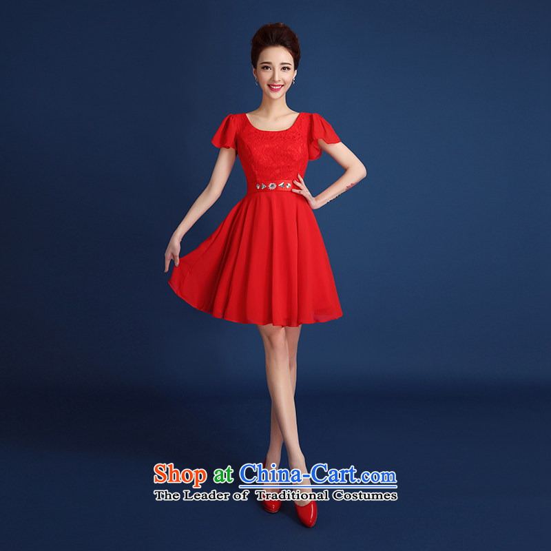 2015 New Red improved short, lace evening dress marriages bows services straps, elegant small dress skirt red�XL