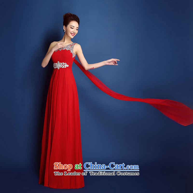 Toasting champagne bride services crowsfoot shoulder diamond wedding dress skirt improved long summer 2015 new wedding dress Sau San, Red M