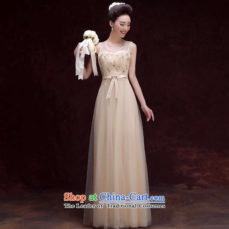 The privilege of serving-leung 2015 new bride wedding dress Long skirts and sisters served bridesmaid Ms. champagne color dress champagne color?S