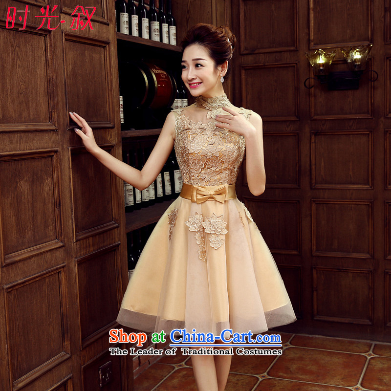 Sexy package shoulder small banquet evening dress party marriages bows service, will the new 2015 autumn and winter Car Show car models evening banquet stage costumes gold聽S