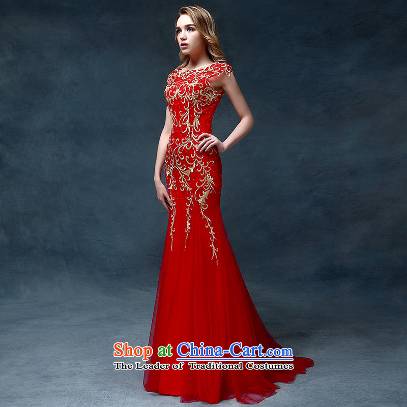 According to Lin Sha bride bows services 2015 new stylish bridal dresses red wedding dress evening dress long crowsfoot Sau San will red