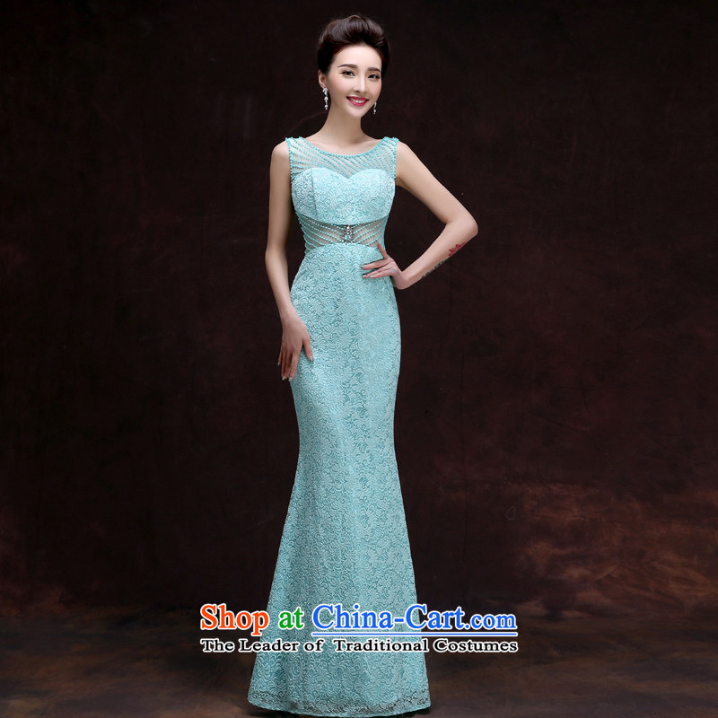 The privilege of serving-leung 2015 new wedding dress bridesmaid services sister skirt crowsfoot evening dresses long gown female pale blue banquet?L