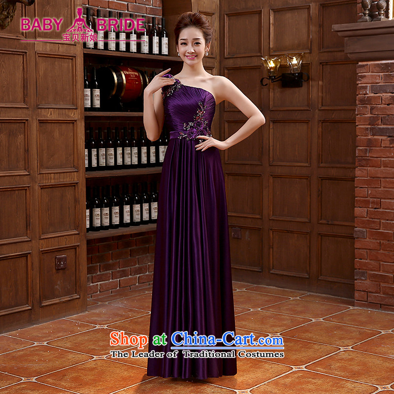 Bridesmaid dress long skirt tie bows Korean wedding dresses silk chiffon Sau San purple�XXL