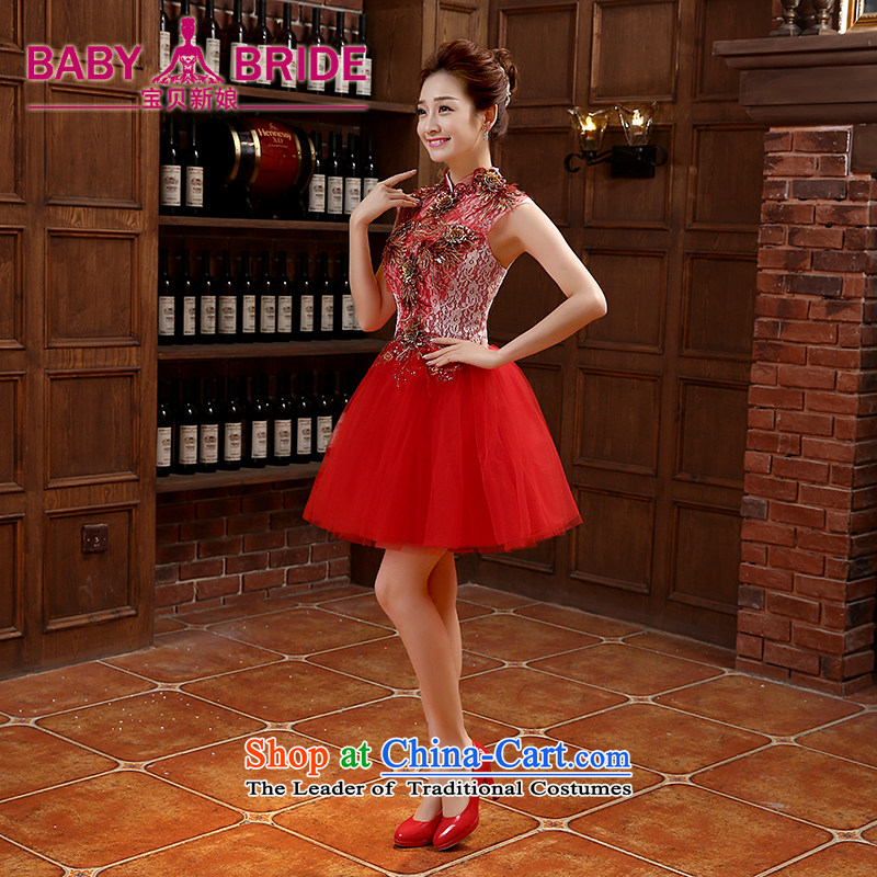 2015 new marriage small Dress Short of Annual Gala bridesmaid services moderator female Korean skirt bows services during the spring and autumn red?S