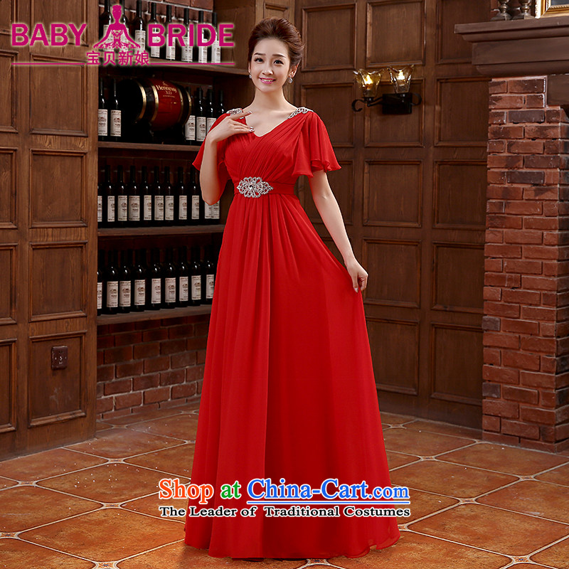 However Service Bridal Fashion 2015 new shoulders V-Neck evening dress long gown bows Service Bridal wedding dress RED M
