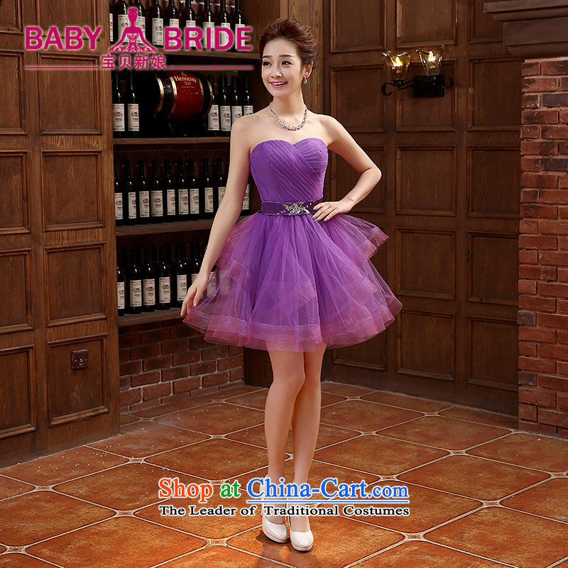 ?2015 Spring bridesmaid dress new dress short of banquet Korean bridesmaid skirt thin bridesmaid services video purple?S