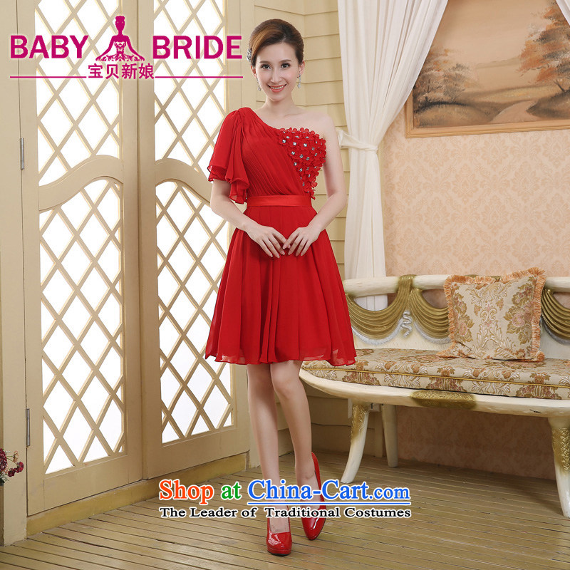 2015 Summer shoulder bride wedding dress bridesmaid skirt red dress bows services show short, Red燲XL