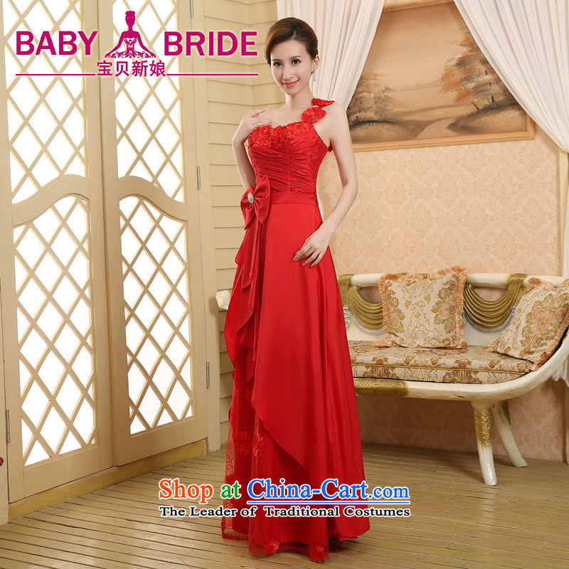 2015 wedding dresses new bride wedding dress uniform evening drink red single shoulder length_ Red S