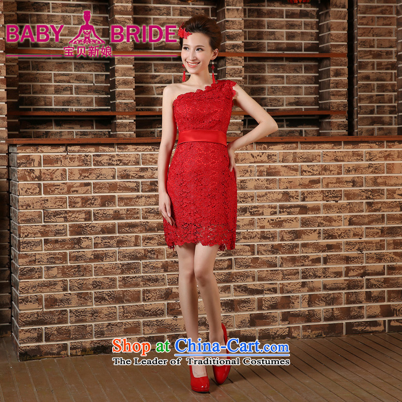 Wedding dress shoulder the new 2015 Sau San video thin red bride with bows bridesmaid skirt evening dress qipao short red?XXL