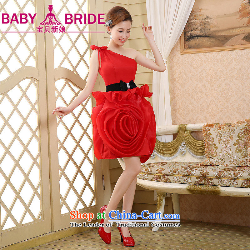 The bride bows services shoulder bridesmaid skirt small banquet dress suit Female dress short spring and summer, Ms. Red�XL