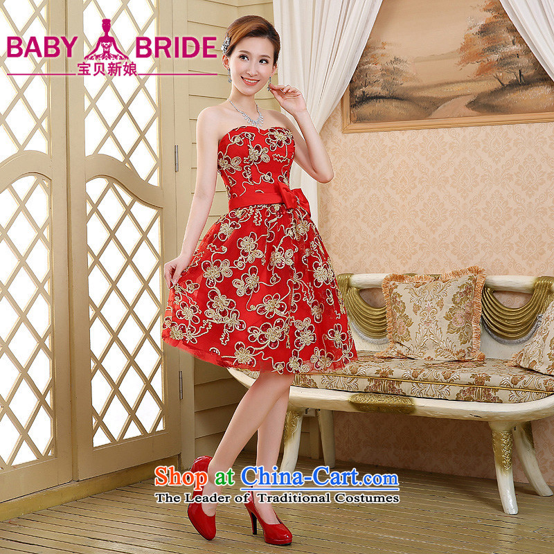 The new 2015 Spring/Summer small dress skirt bridesmaid mission under the auspices of marriage dress performances banquet and chest evening dress short, Red?M