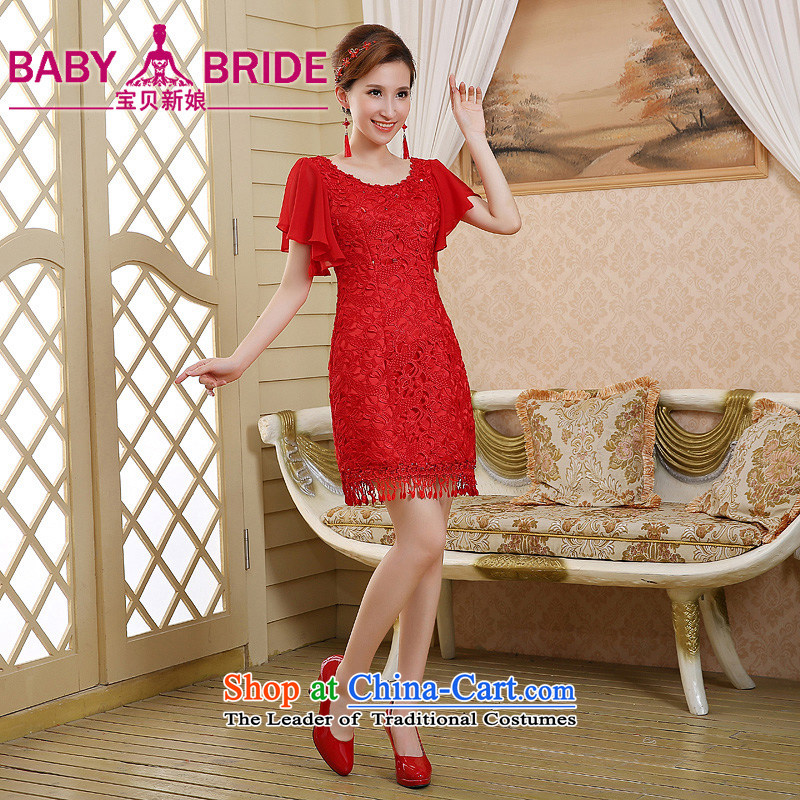 The bride wedding dress bows services spring and summer skirts qipao new 2015 red lace Sau San retro style red?XXL