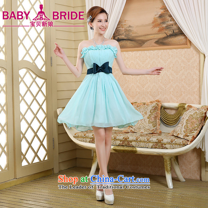 2015 new bridesmaid mission bridesmaid service in a small dress Sister Mary Magdalene chest annual skirt bridesmaid skirt bridesmaid dress skyblue?XXL