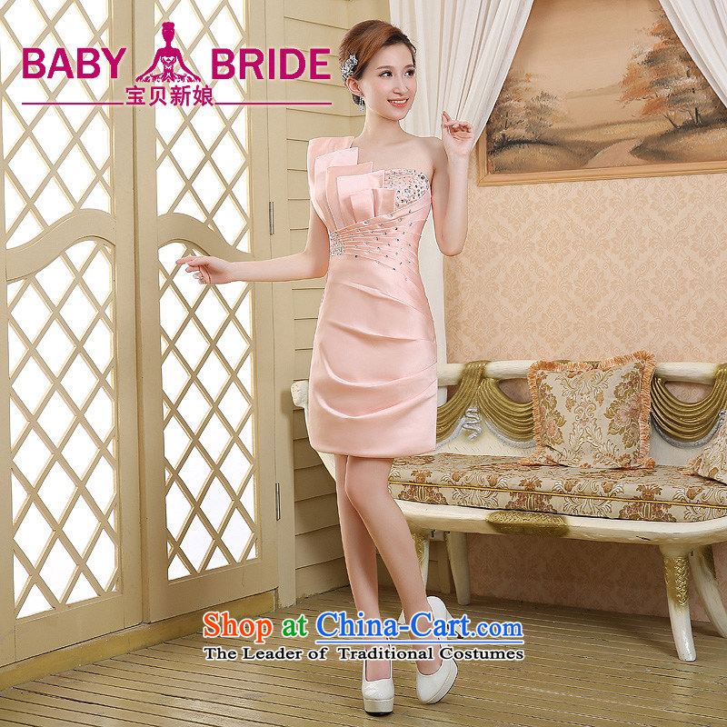 2015 new short) package and evening dress shoulder Korean Princess evening Sau San skirts and sexy aristocratic bows small pink dresses M