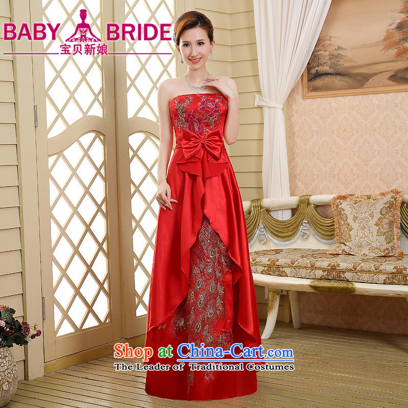 Wipe the chest pregnant women brides red bows to the new spring, 2015 evening dresses long marriage larger Sau San Female Red燤