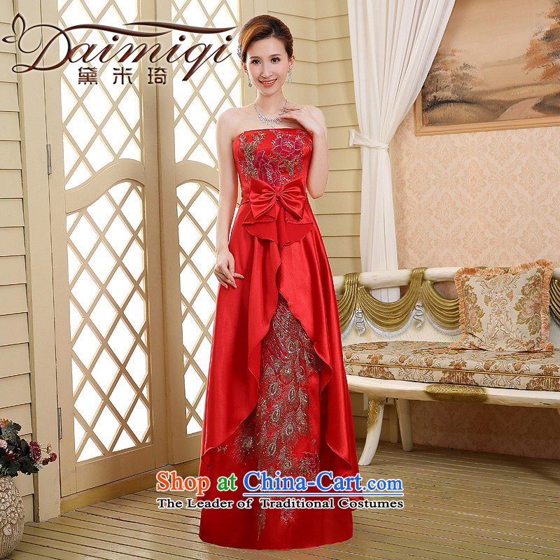 Wipe the chest pregnant women brides red bows to the new spring, 2015 evening dresses long marriage larger female Sau San Red?L