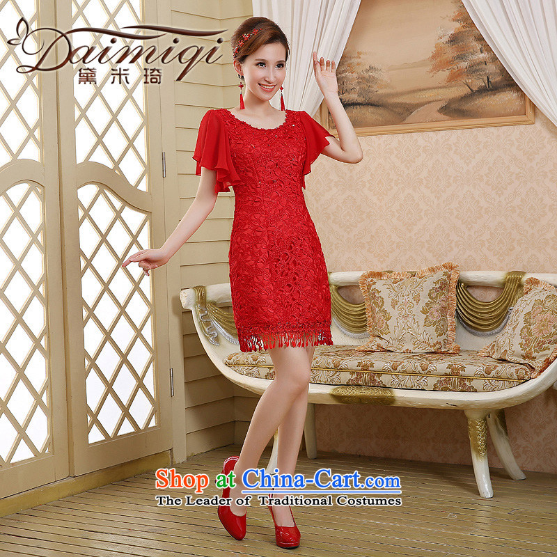 The bride wedding dress bows services spring and summer skirts qipao new 2015 red lace Sau San retro style red XXL