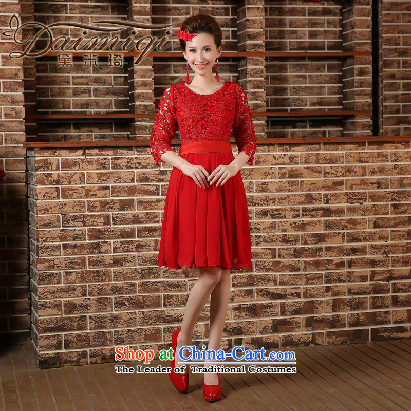 Pregnant women serving high-lumbar spring bows new marriages cheongsam dress 2015 large short of Sau San Red Red M