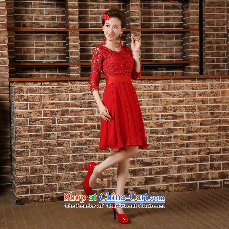 Pregnant women serving high-lumbar spring bows new marriages cheongsam dress 2015 large short of Sau San Red Red M Demi Moor Qi , , , shopping on the Internet