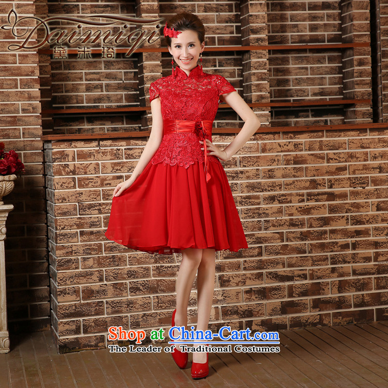 2015 Spring_Summer new marriages bows dress qipao short-sleeved long kit cheongsam red聽XXL