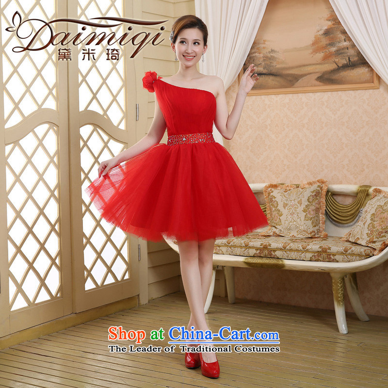 Evening dress the new Korean 2015 Red single shoulder, Banquet in spring and summer short bows services marriages stylish bridesmaid female red?S