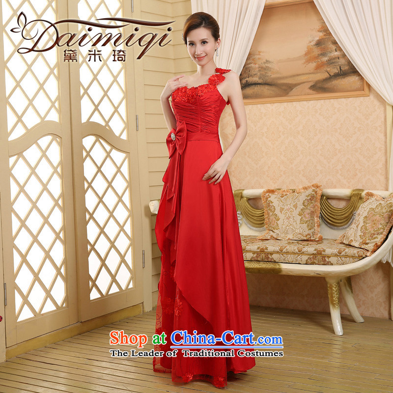 2015 wedding dresses new bride wedding dress uniform evening drink red single shoulder length_ Red聽L