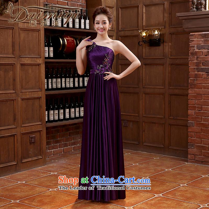 Bridesmaid dress long skirt tie bows Korean wedding dresses silk chiffon Sau San purpleXL