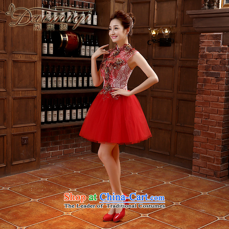 2015 new marriage small Dress Short of Annual Gala bridesmaid services moderator female Korean skirt bows services during the spring and autumn RED?M