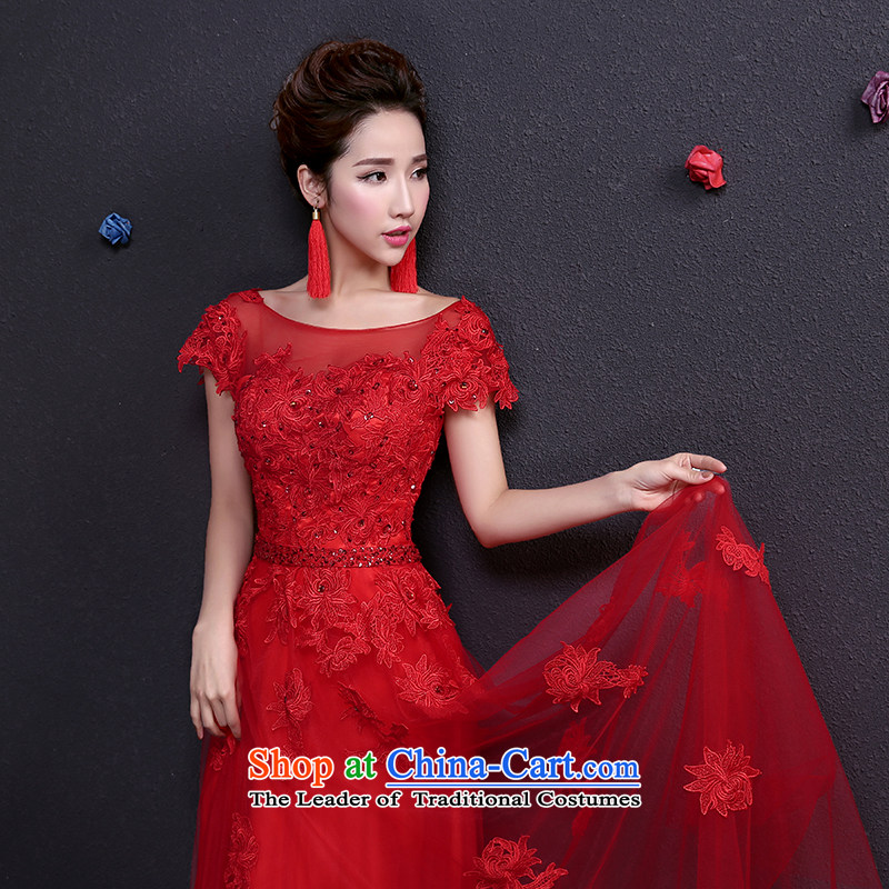 However Service Bridal summer female lace red wedding dress long red dress package Shoulder L