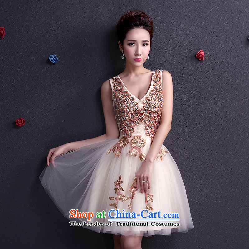 The dumping of the wedding dress bows services dress bride stylish 2015 short, thin shoulders of Sau San video marriage wedding dresses spring and summer champagne color red聽XS