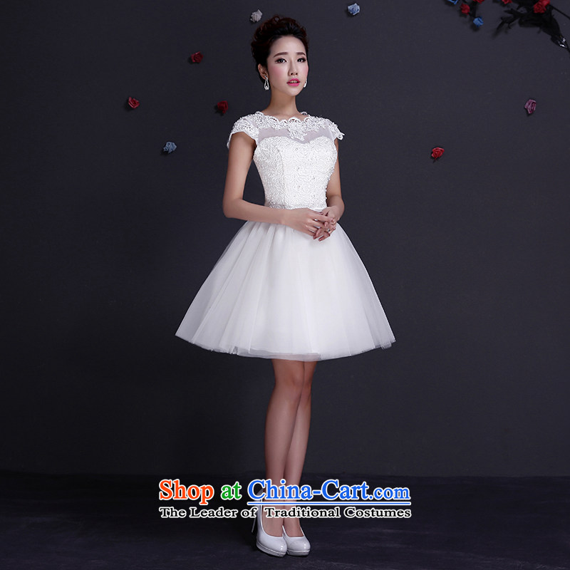 The dumping of the wedding dress wedding dresses Sau San 2015 new booking wedding dress lace bridesmaid service package shoulder skirt boudoir white honey short summer gown white L