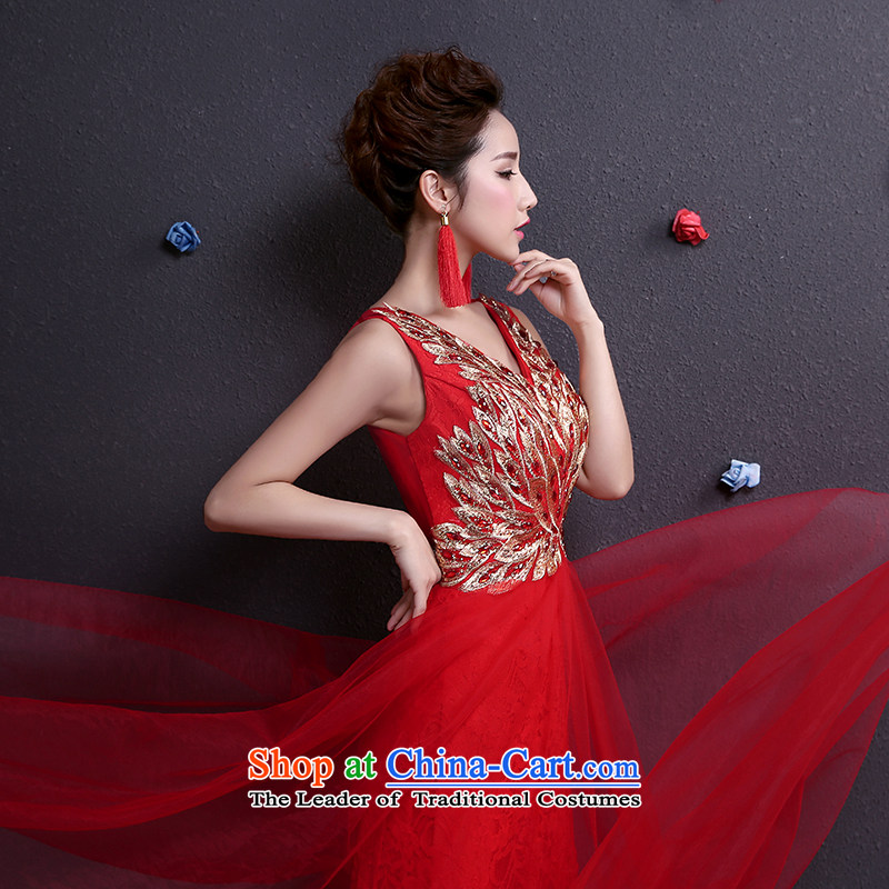 However service new summer 2015 bride wedding dress a shoulder length field, Red Dress Red XS