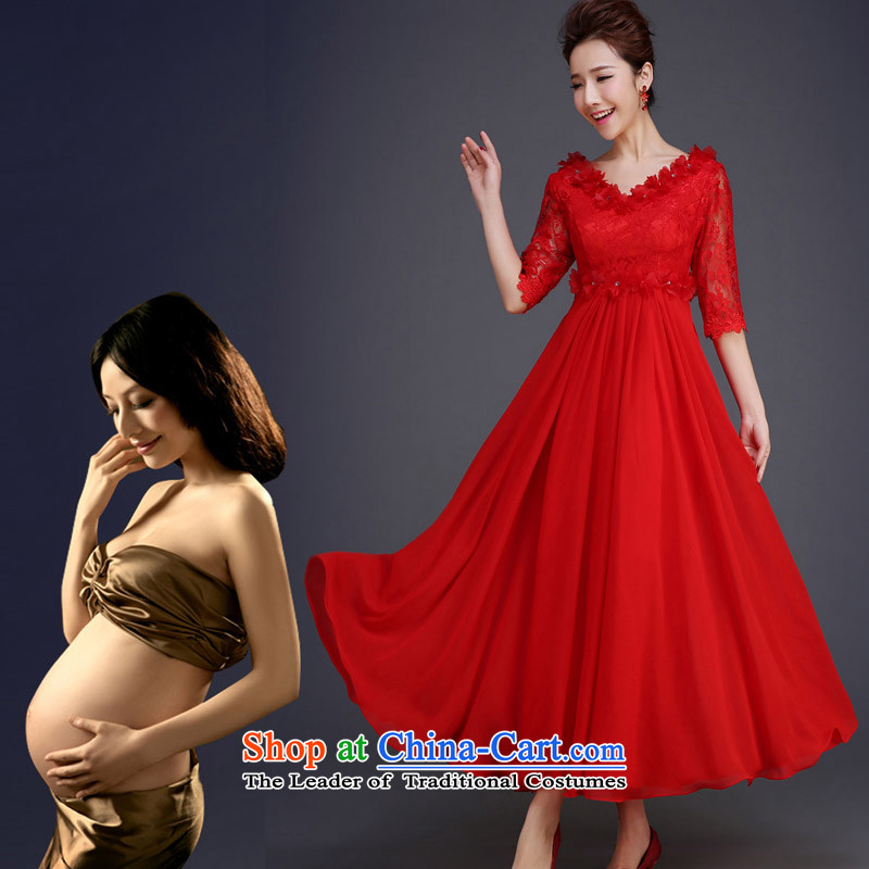 However, the new 2015 Service Korean Red pregnant women in the long high-lumbar large wedding dress banquet evening dresses spring and summer red?XL