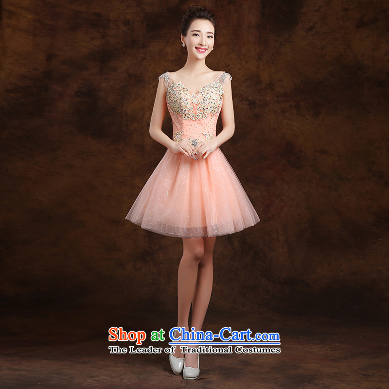 The first white into about France lace sexy Deep v-neck fluoroscopy diamond bride bridesmaid short of pink evening wedding dresses bridesmaid Service?M