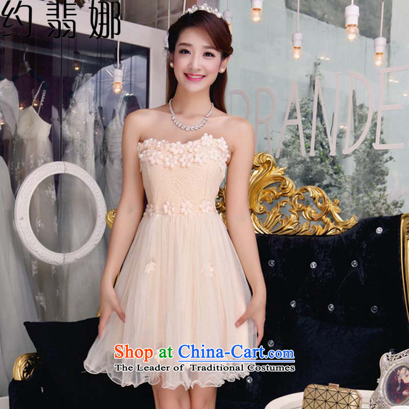 The 2015 autumn Jadeite Jade about replacing the new bare shoulders and stylish lace dresses temperament Sau San booking pearl dresses 602 apricot s