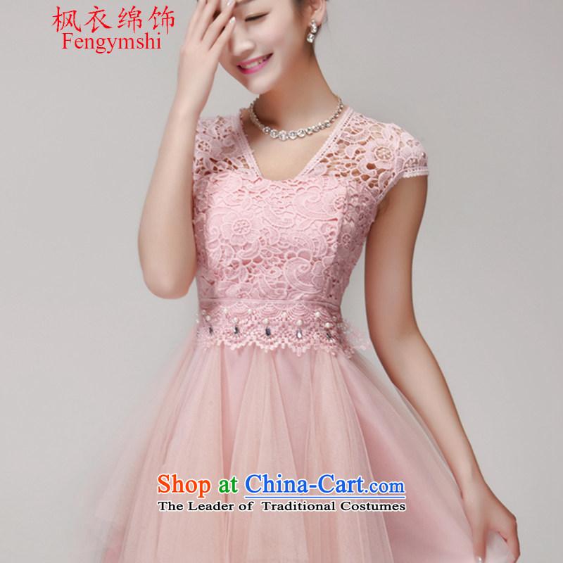 Maple Yi Min International Summer 2015 new lace hook flower dresses female bon bon skirt temperament dress skirt pink?L
