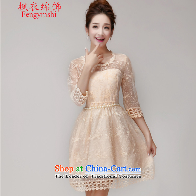 Maple Yi Min International 2015 new summer nail Pearl Princess skirt dresses Sau San champagne color and chest bridesmaid small dress apricot?L