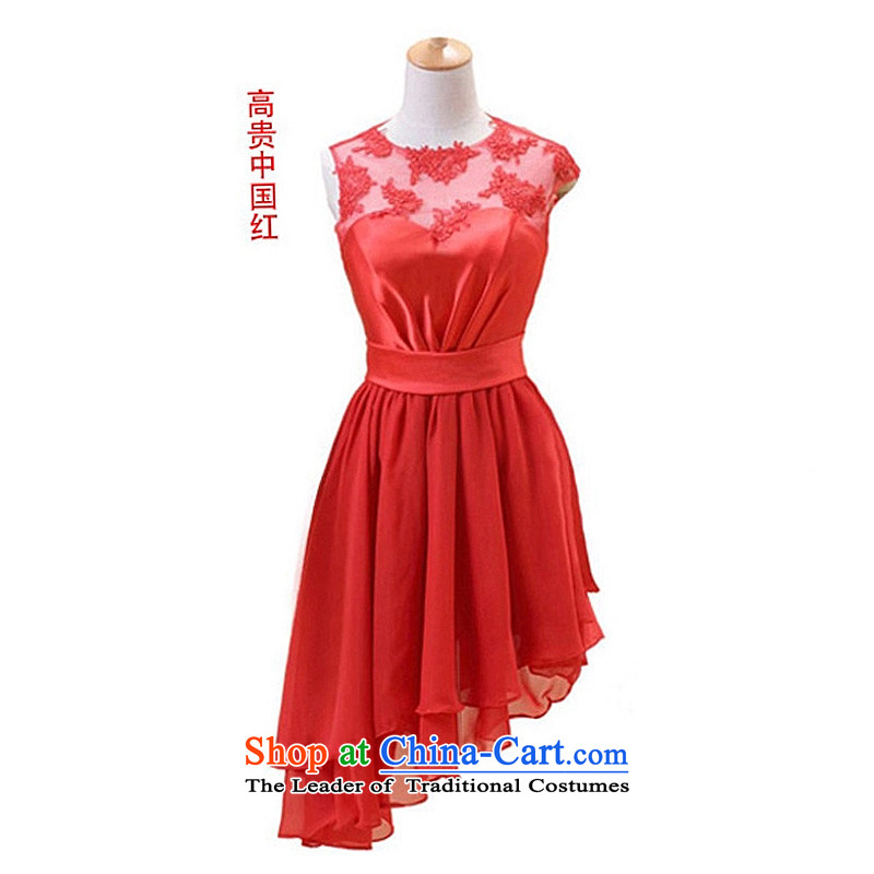 The Korean version of the new 2015 small short skirt marriages yarn dinner will lace bows bridesmaid Dress Short, Red M