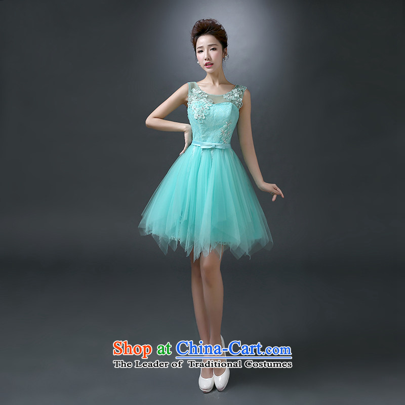 The first white into about Service Bridal Fashion small bows dress skirt bridesmaid dress 2015 new spring and summer shoulders evening dress short, wedding ice blue XL