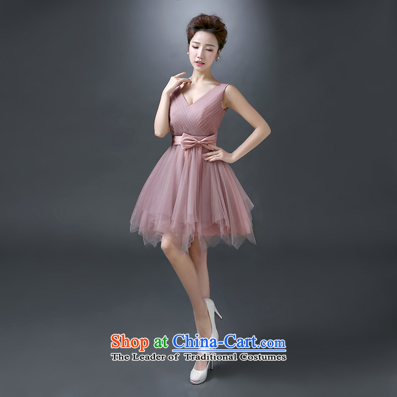 The first white into about bridesmaid Service Bridal bows services shoulder summer evening dress short banquet, 2015 New bridesmaid dress small dress skirt the usual zongzi color M