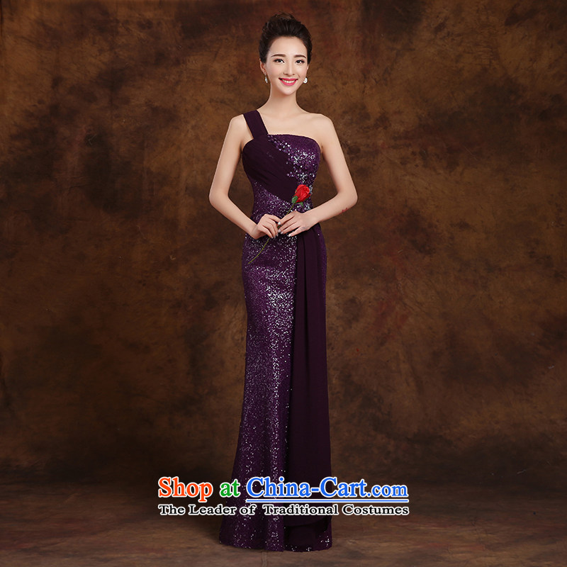 The first white into about?2015 autumn evening dress uniform light purple slice bows dress shoulder crowsfoot banquet dress purple tailored contact customer service