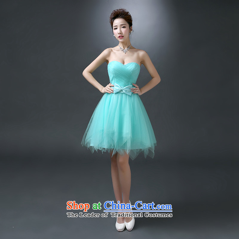 The first white into about 2015 new bridesmaid Services Mary Magdalene chest stylish banquet dinner dress short spring married women serving drink Mr bon bon skirt ice blue tailored contact customer service