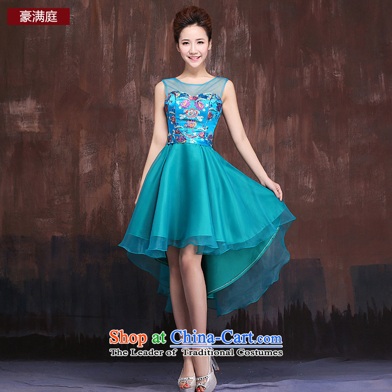 Ho full Chamber bride dress 2015 new marriage evening drink service banquet style shoulders dress dresses female blue?XL