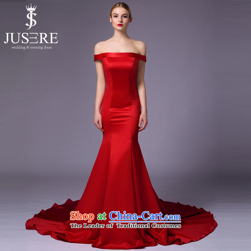 There is a red interpretation from?2015 new wedding dresses aristocratic dress marriages bows services 1 shoulder tail Red?8