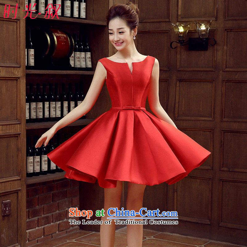 Syria banquet dress time 2015 New 2 short of Korean shoulder satin dress bridal dresses small marriage services for autumn and winter is a drink red Vehicle Exhibition evening dress is red?L