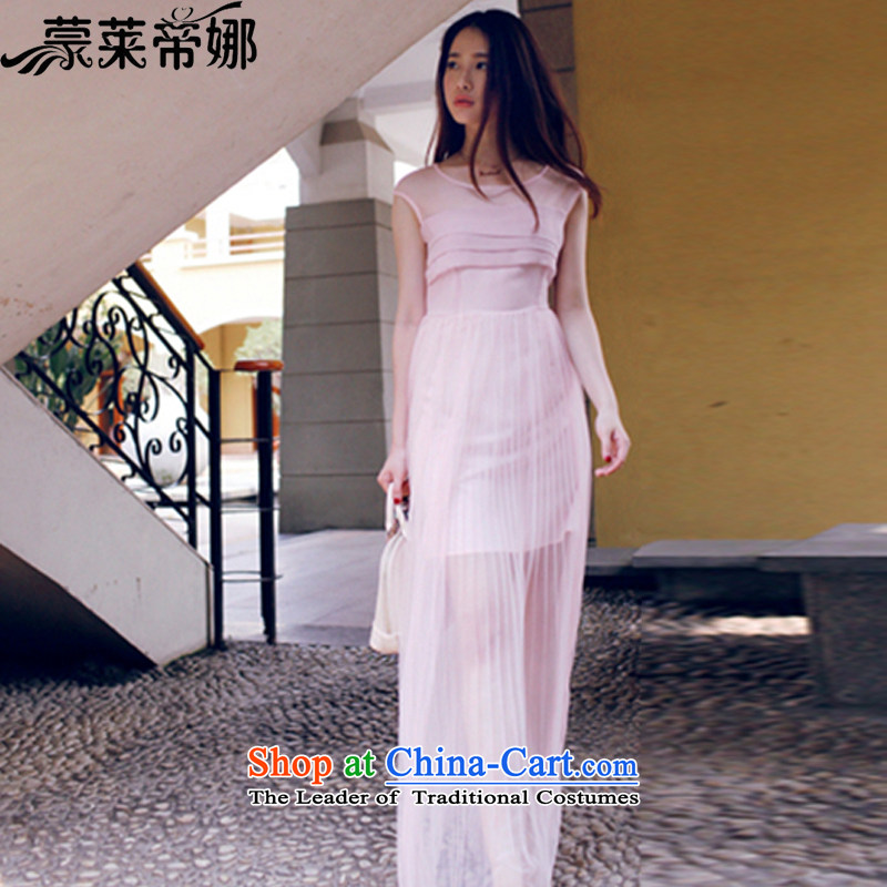 The 2015 Dili Blair Monrovia summer female new western Europe and stylish wind aristocratic spring and summer temperament Sau San like Susy Nagle skirts, small dress fairies chiffon skirt 60 PINK聽S