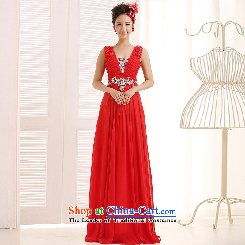 Ho full Chamber 2015 new bride evening dresses long skirt bridesmaid female dresses bridesmaid dress marriage wedding dresses red?S